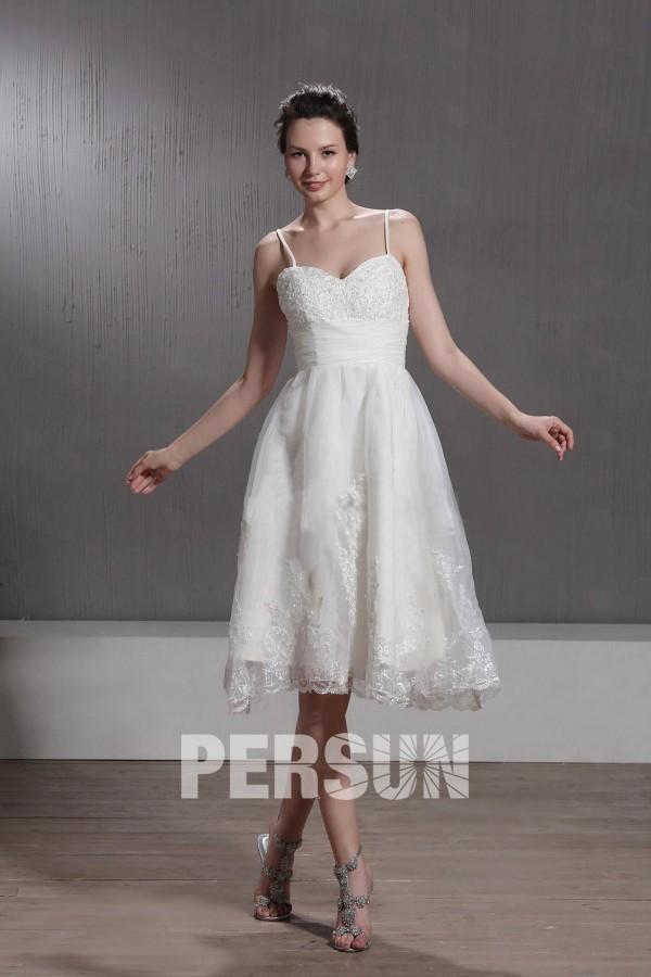 Robe de mariée ligne A au ras des genoux en organza