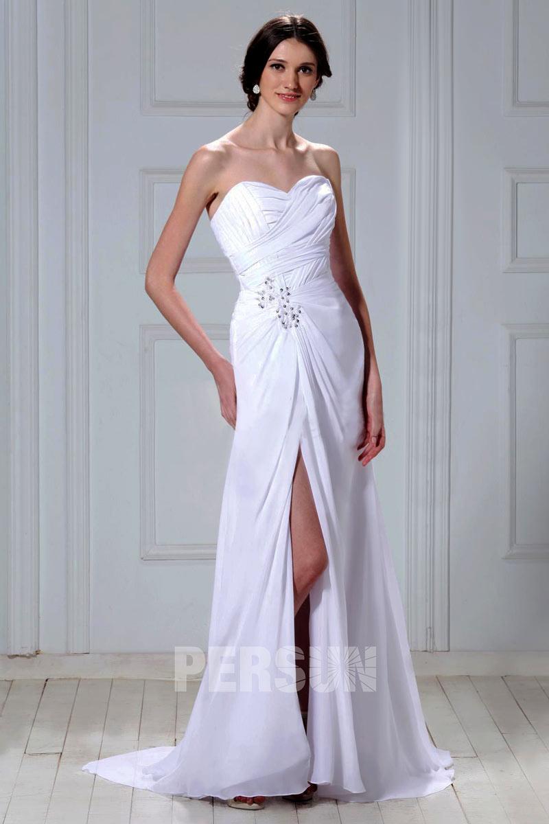 robe de mariée fendue bustier coeur plissé embelli de strass