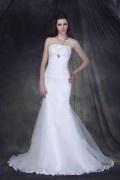 Trägerlos Meerjungfrau Applikation Brosche Hof Schleppe Hochzeitskleid