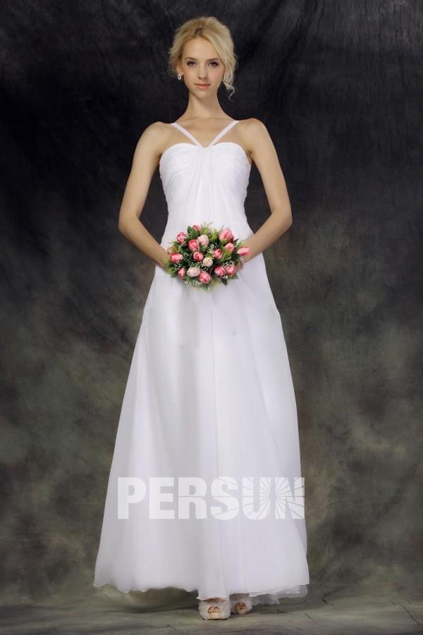 973091be152 Robe de mariée simple et chic Empire à col américain au ras de la cheville