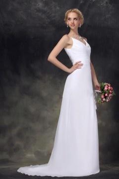 Robe simple de mariée longue décolleté en V en mousseline