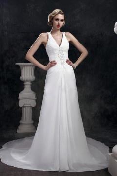 Robe de mariée simple Fourreau / Colonne encolure en V au ras du sol