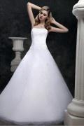Robe de mariée princesse sans bretelle à traîne Court ornée de bijoux