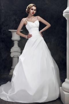 Robe de mariée princesse pailletée avec ruchées sur la taille