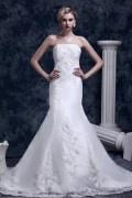 Robe de mariée de luxe Trompette / Sirène sans bretelle à traîne Chapel broderie