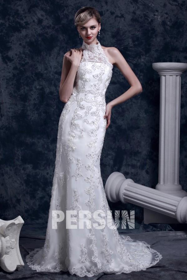 robe de mariée sirène col halter en dentelle appliquée embelli de sequins avec petite traîne