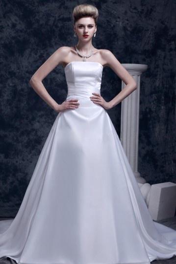 Robe de mariée bustier simple et chic sans bretelle à dos nu