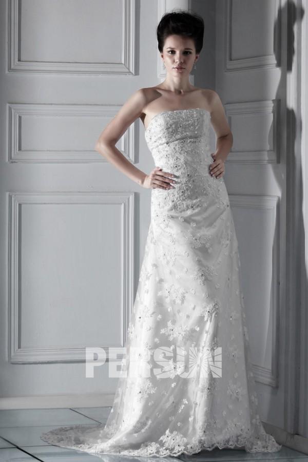 Robe de mariée dentelle Ligne A bustier droit travaillé de bijoux