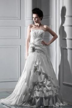 Robe de mariée moderne à Ligne-A  à traîne Chapel à volants
