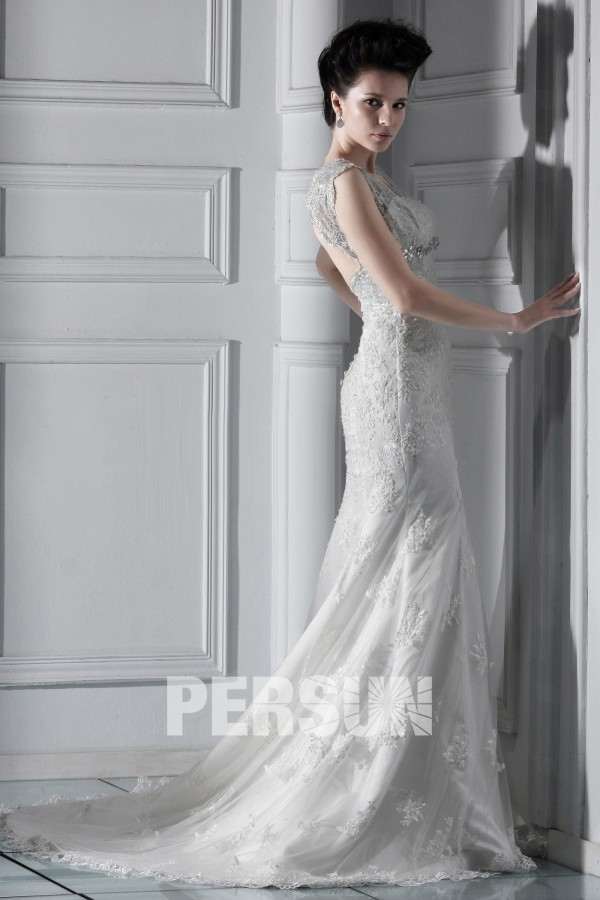 Robe de mariée de luxe en dentelle Trompette / Sirène à traîne Chapel