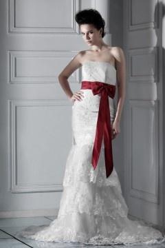 Robe de mariée dentelle Sirène sans bretelle à traîne Chapel à volants