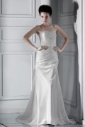 Robe de mariée moderne argentée à Ligne-A décolleté en cœur au ras du sol