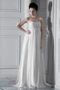 Robe de mariée plage moderne Empire sans bretelle à traîne Court ornée de bijoux