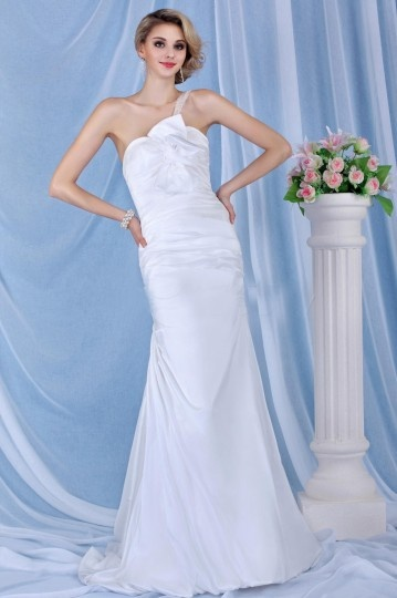Robe de mariée Sirène à seule épaule à traîne Chapel