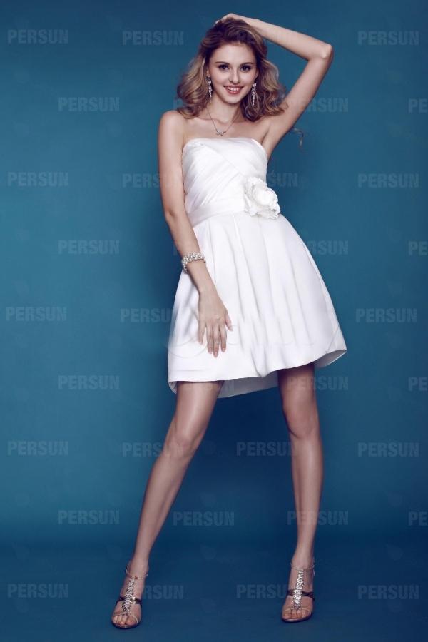 robe de mariée courte à bustier droite