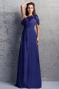 Robe de soirée violet asymétrique à mancheron