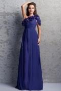 Robe de soirée bleu asymétrique fleurs à mancheron