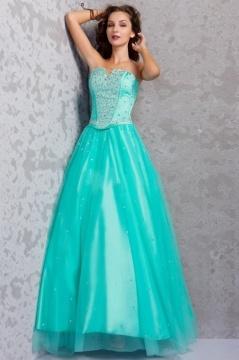 Robe de bal princesse verte longue corset bijouté