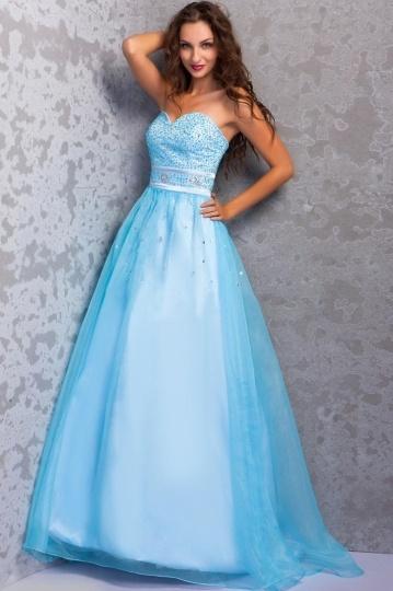 Robe de bal princesse bleu clair bustier bijouté en cœur