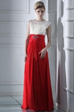 Robe de soirée chic bicoloré rouge et blanche