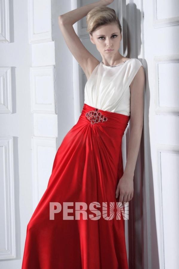 Robe pour soirée habillée empire drapée blanche & rouge
