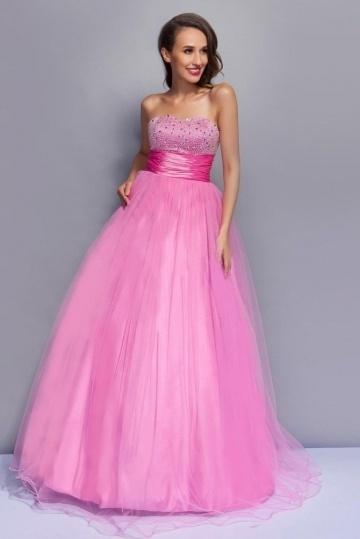 Robe de bal rose longue Ligne A décolleté en cœur bijoux