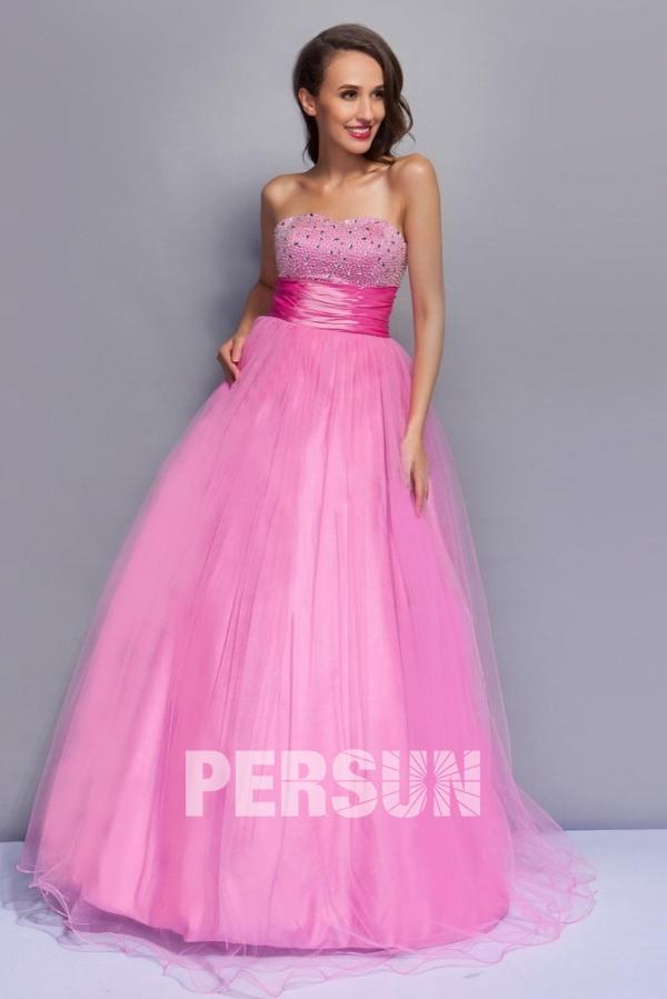 Robe de bal princesse rose bustier vague strassé empire