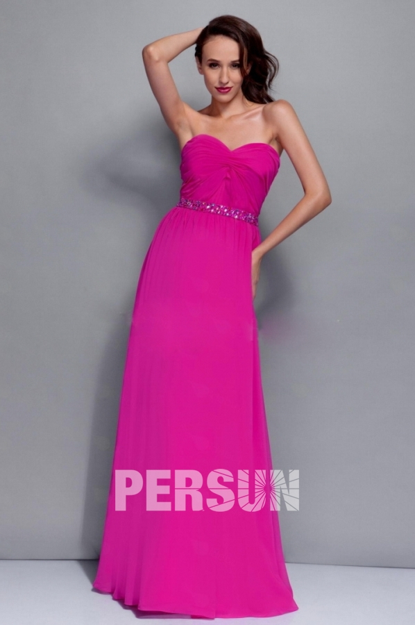 Robe de cocktail longue fushia