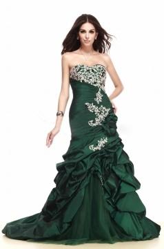 Robe de bal sirène vert bouteille broderie exquise