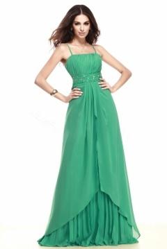 Robe cérémonie mariage verte longue orné de strass
