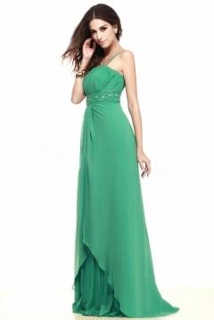 Robe de soirée verte à bretelle spaghetti détails strasse bijoux