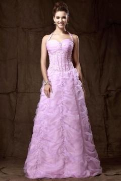 Robe de bal rose bustier effet corsage col halter jupe fantastique