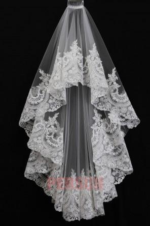 Voile de mariée ivoire appliqué de dentelle guipure floral 1 couche