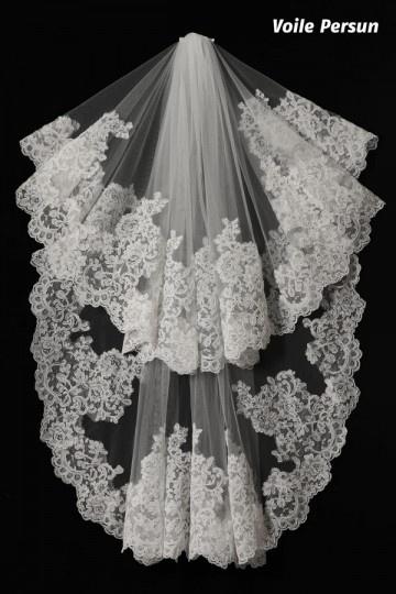 Voile de mariée court vintage dentelle guipure florale 1 mètre