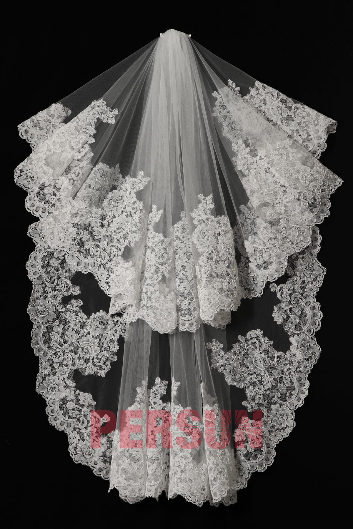 voile de mariée vintage en dentelle guipure florale