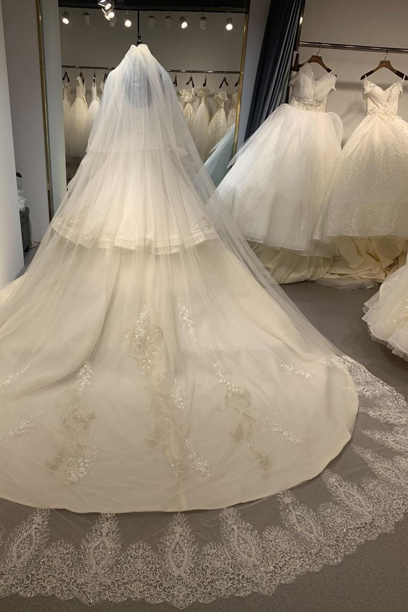 voile de mariée cathédrale à ourlet en guipure pailletée