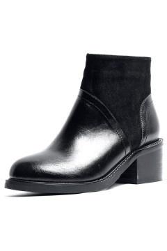 Bottes femme noires bi matière zipper