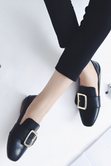 Mocassin Femme Ville Doré Chaussure Plate De Boucle n8P0OwkX