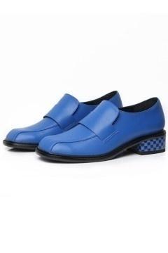 Chaussures femme style masculine talon motif carreaux