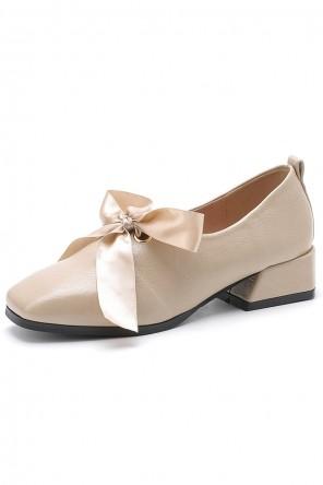 Chaussures de ville femme vintage bout carré avec noeud papillon