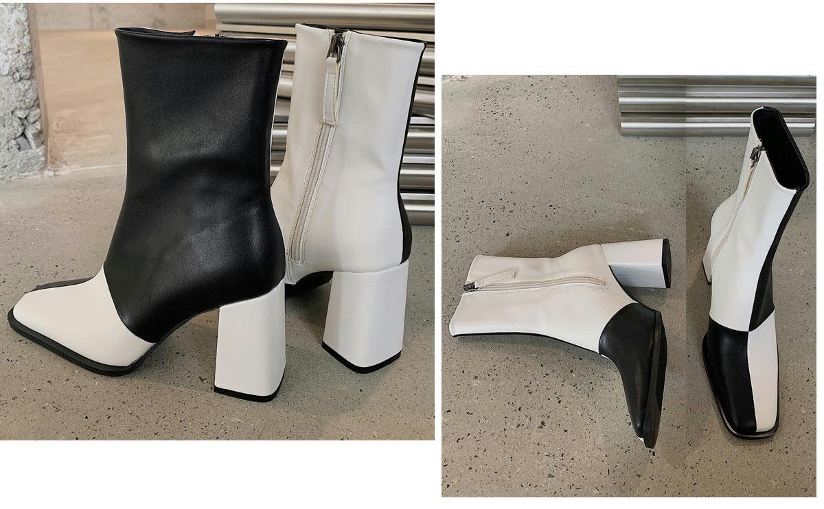 bottine bloc couleur classique tendance noir & blanc