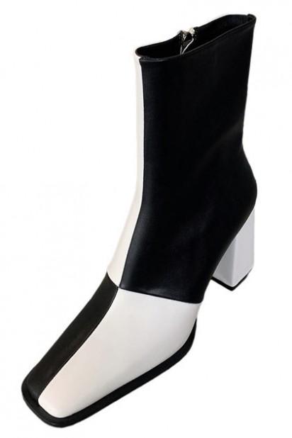 Chic bottines femme bicolore bout carré