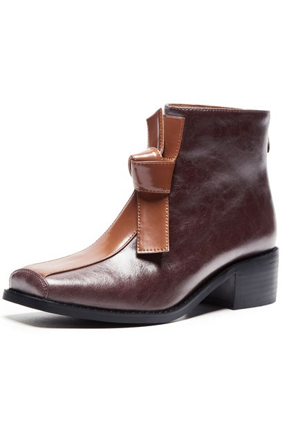 Chic bottines femme bicolore bout carré