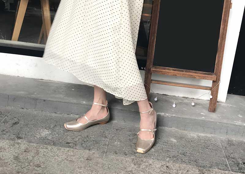 ballerine vintage plate bout carré à bride