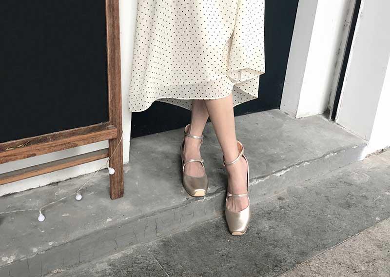 ballerine vintage argentée plate bout carré à bride