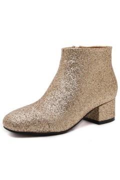 Low boots de ville brillant doré à talon moyen