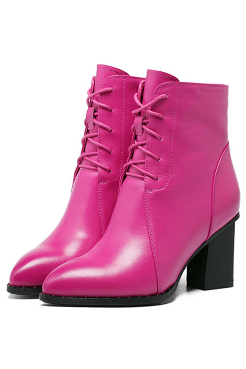 Bottines élégantes femme fuchsia à haut talon bottier bout pointu