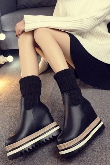 1c7d8905e020 Bottines chaussettes avec plate-forme - Persun.fr