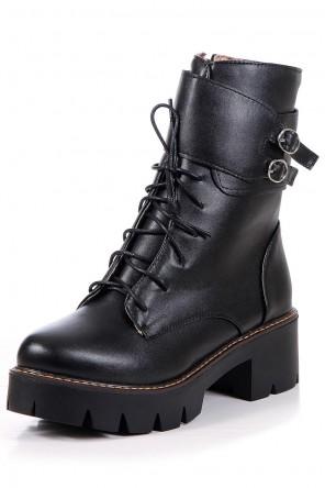 Boots lacets femme avec boucles avec zip latéral à bout rond