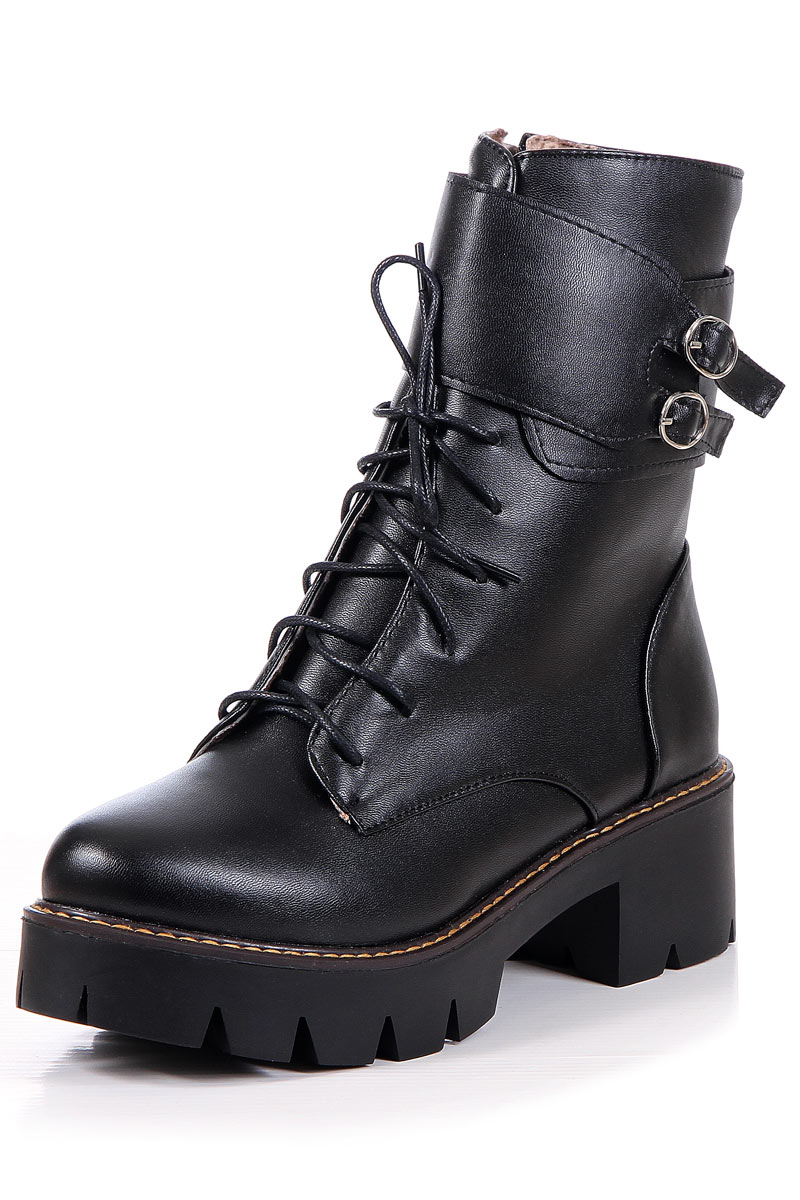 À Zip Latéral Lacets Bout Boots Rond Femme Avec Boucles zGMVSpqU
